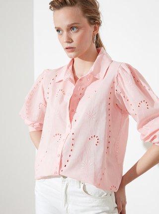 Ružová dámska voľná košeľa s madeirou Trendyol