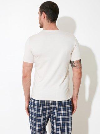 Modro-béžové pánské pyžamo s potiskem Trendyol