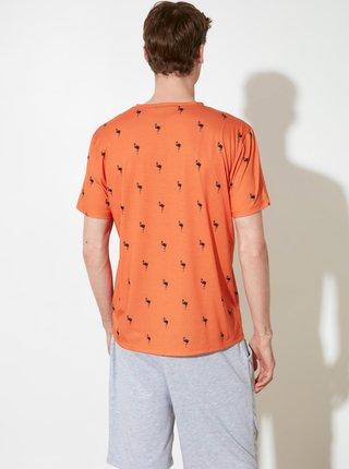 Šedo-oranžové pánské vzorované pyžamo Trendyol