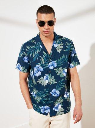 Modrá pánska vzorovaná košeľa Trendyol