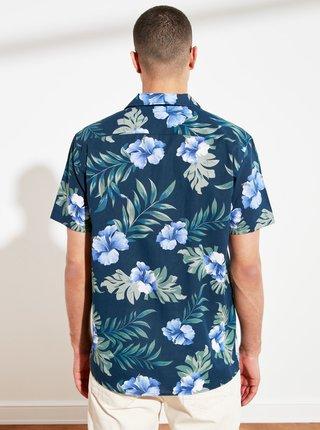 Modrá pánská vzorovaná košile Trendyol