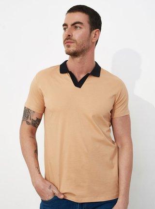 Béžové pánské polo tričko Trendyol