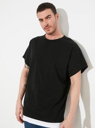 Černé pánské volné tričko Trendyol