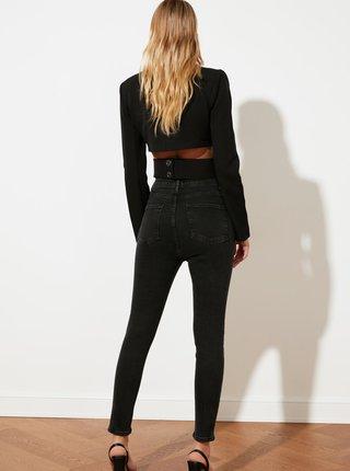 Černé dámské zkrácené skinny fit džíny Trendyol