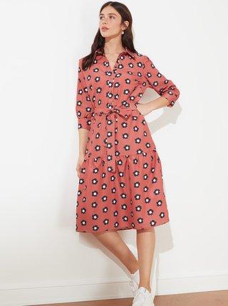 Růžové květované košilové šaty se zavazováním Trendyol