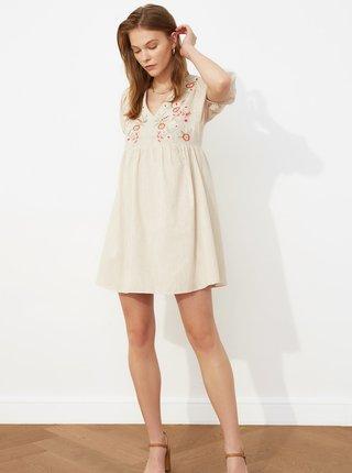 Béžové šaty s výšivkou Trendyol