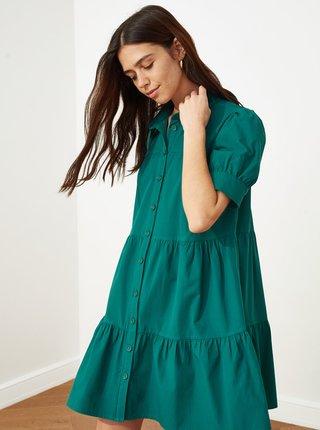 Zelené volné košilové šaty Trendyol