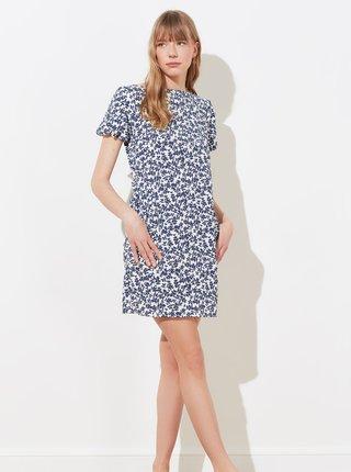 Bílo-modré květované šaty s kapsami Trendyol