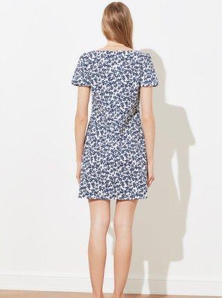 Bielo-modré kvetované šaty s vreckami Trendyol