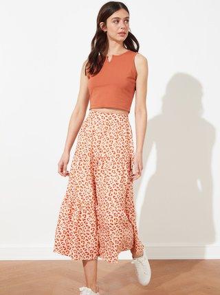 Oranžová vzorovaná midi sukně Trendyol