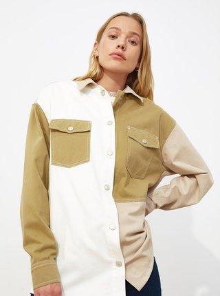 Bielo-béžová dámska voľná košeľa Trendyol