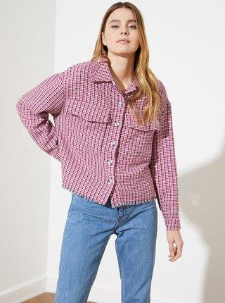Fialová dámska kockovaná voľná košeľa Trendyol