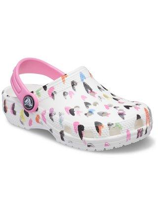 Crocs biele topánky Classic Heart Print Clog White