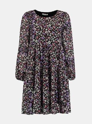 Fialovo-černé květované šaty Hailys