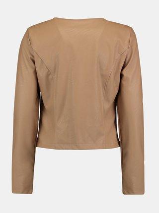Béžová krátka koženková bunda Hailys