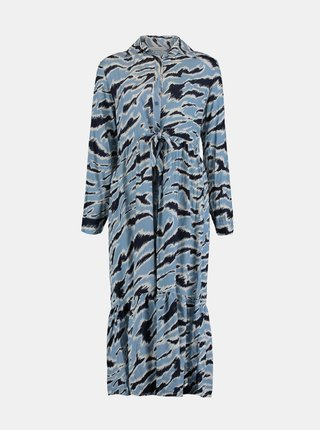 Modré vzorované košeľové maxišaty Hailys