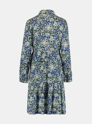 Modré kvetované košeľové šaty Hailys