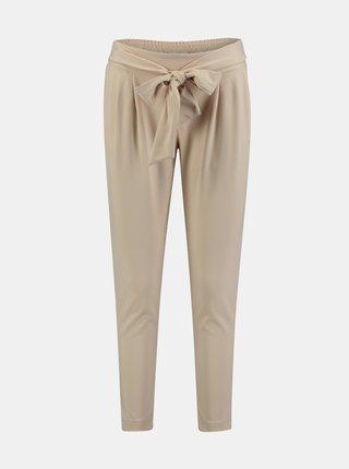 Béžové skrátené nohavice so zaväzovaním Hailys