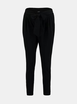 Černé zkrácené kalhoty se zavazováním Hailys