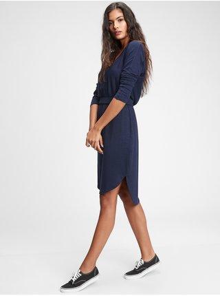 Modré dámské šaty softspun banded waist dress