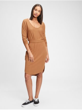 Béžové dámské šaty softspun banded waist dress