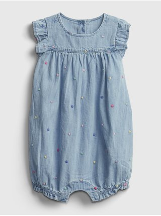 Baby overal denim shorty one-piece Modrá