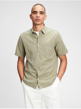 Zelená pánská košile ss linen ctn r