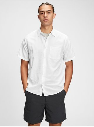 Bílá pánská košile ss linen ctn r