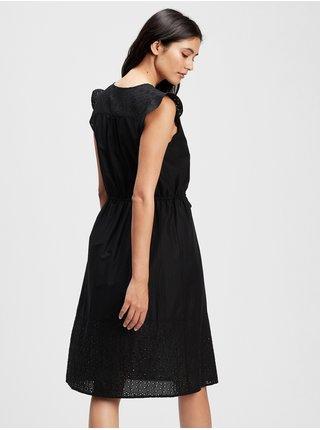Šaty eyelet midi dress Čierna