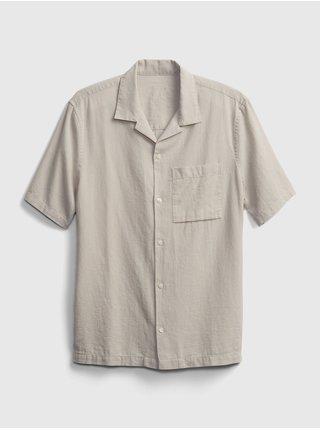 Béžová pánská košile ss linen ctn