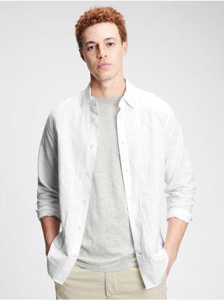 Bílá pánská košile ls linen ctn s