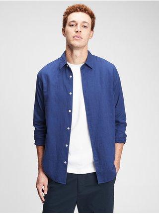 Modrá pánská košile ls linen ctn s
