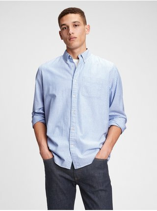 Košeľa lived-in stretch oxford shirt Modrá
