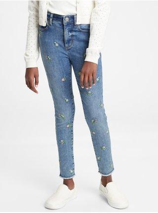 Barevné holčičí dětské džíny high rise ankle embroidered floral jeggings