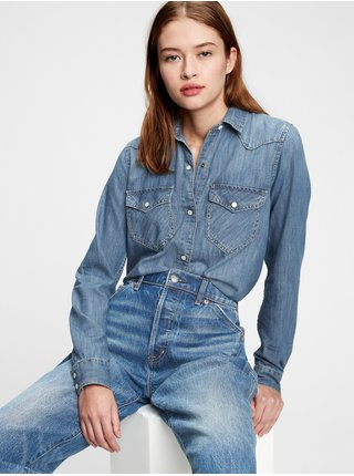 Modrá dámská košile denim western