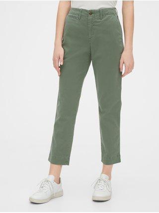 Zelené dámské kalhoty straight khakis