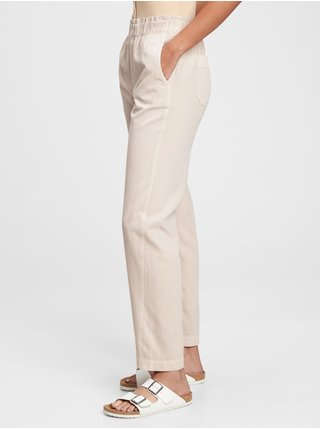 Béžové dámské kalhoty high rise pull on paperbag khaki