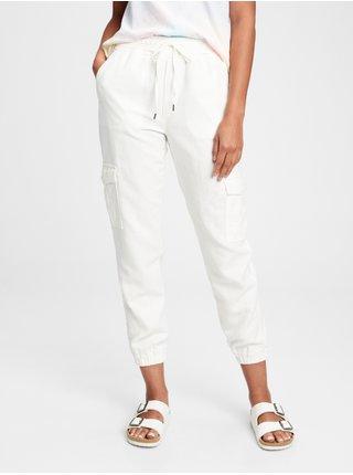 Bílé dámské kalhoty linen pull on