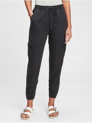 Černé dámské kalhoty linen pull on cargo jogger