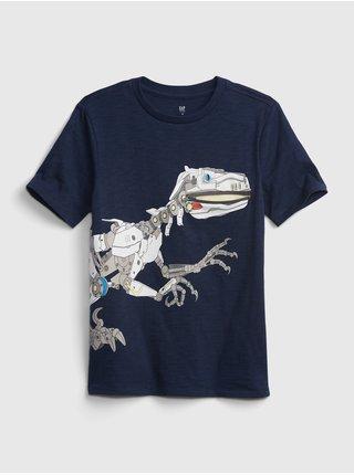 Detské tričko dinosaur zipper graphic t-shirt Modrá