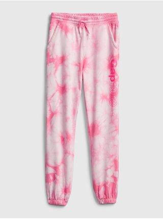 Růžové holčičí dětské tepláky GAP Logo slouchy joggers