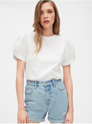Bílé dámské tričko puff sleeve