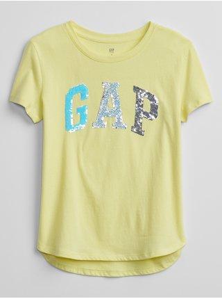 Detské tričko GAP Logo flippy sequin t-shirt Žltá