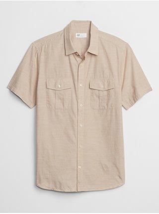 Béžová pánská košile v-ss slub cotton utility pocket