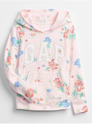 Detská mikina GAP Logo floral hoodie Ružová