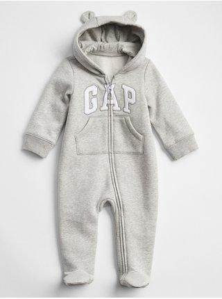 Šedý holčičí baby overal GAP Logo v-u bear