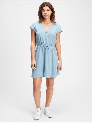 Modré dámské šaty v-ss fltr slv dress