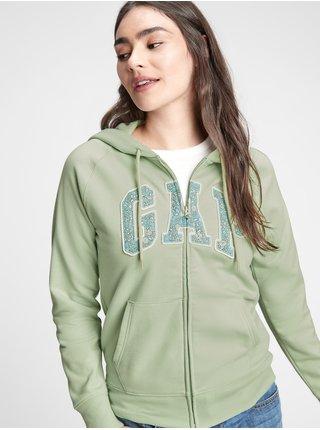 Zelená dámská mikina GAP Logo v clsc fz hd novelty
