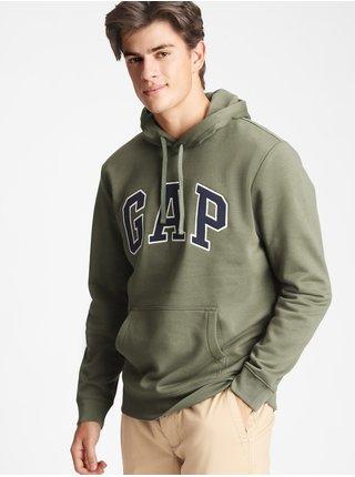 Zelená pánská mikina GAP Logo v-fleece arch po snl