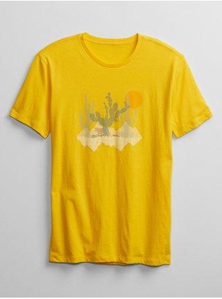 Žluté pánské tričko v-cactus grph